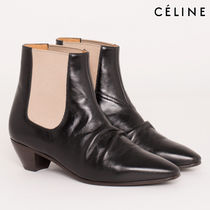 CELINE Bi-color Leather Block Heels Elegant Style