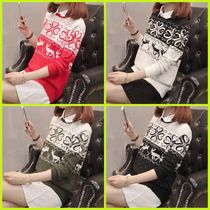 Cable Knit Casual Style U-Neck Long Sleeves