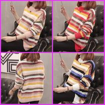 Cable Knit Stripes Casual Style U-Neck Long Sleeves Medium