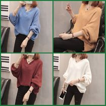 Cable Knit Casual Style Dolman Sleeves V-Neck Plain Medium