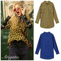 ELF SACK Gingham Casual Style Street Style Cropped Medium Oversized
