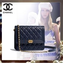 CHANEL Calfskin Chain Plain Elegant Style Clutches