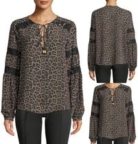 Michael Kors Leopard Patterns Long Sleeves Medium Shirts & Blouses
