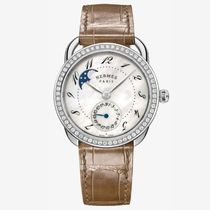 HERMES Blended Fabrics Leather Round Mechanical Watch With Jewels