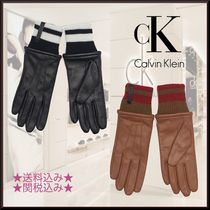 Calvin Klein Plain Leather Leather & Faux Leather Gloves