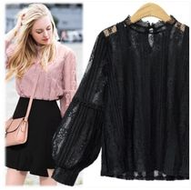 Lace-up Long Sleeves Lace Elegant Style Shirts & Blouses