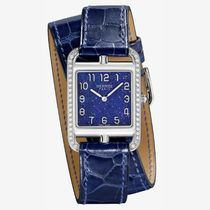 HERMES Blended Fabrics Leather Square Quartz Watches With Jewels