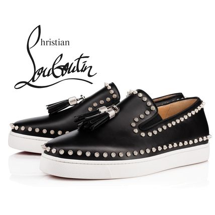 72ba530f85f9 ... Christian Louboutin Loafers   Slip-ons Moccasin Studded Street Style  Plain Leather ...