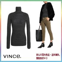 Vince Stripes Cashmere Long Sleeves Elegant Style Cashmere