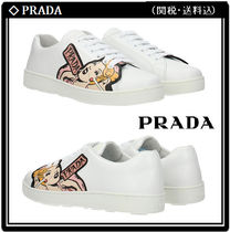 PRADA Round Toe Rubber Sole Casual Style Other Animal Patterns
