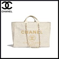 CHANEL Calfskin Blended Fabrics Chain Totes