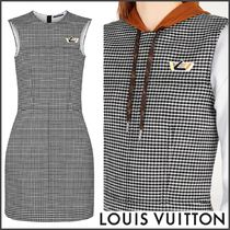 Louis Vuitton MONOGRAM Crew Neck Short Other Check Patterns A-line Wool