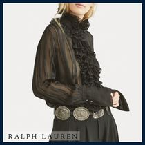 Ralph Lauren Stripes Silk Long Sleeves Elegant Style Shirts & Blouses