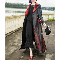 Flower Patterns Faux Fur Long Party Style Trench Coats