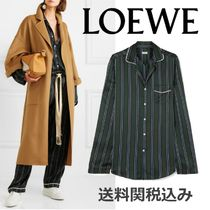 LOEWE Stripes Silk Long Sleeves Oversized Elegant Style