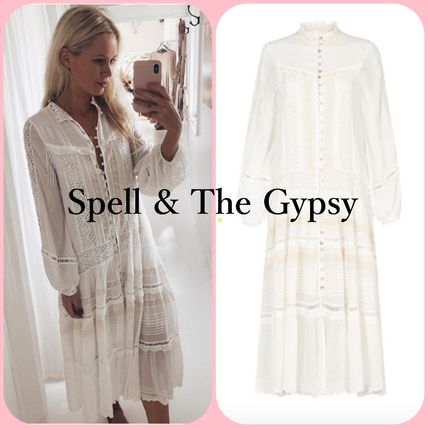 Casual Style Linen Long Sleeves Plain Medium Shirt Dresses