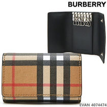 Burberry Gingham Unisex Leather Keychains & Holders
