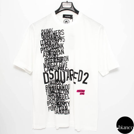 D SQUARED2 Crew Neck Street Style Bi-color Cotton Short Sleeves