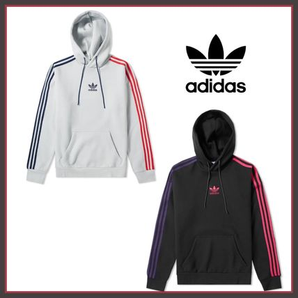 adidas Hoodies Pullovers Stripes Long Sleeves Cotton Hoodies