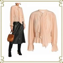 Chloe Silk Medium Elegant Style Puff Sleeves Shirts & Blouses