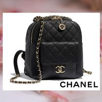 CHANEL Calfskin Chain Plain Elegant Style Backpacks
