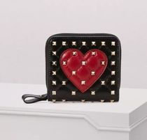 VALENTINO Heart Leather Folding Wallets