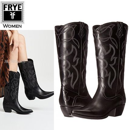 Cowboy Boots Casual Style Plain Leather Mid Heel Boots