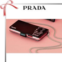PRADA Chain Plain Other Animal Patterns Leather Smart Phone Cases