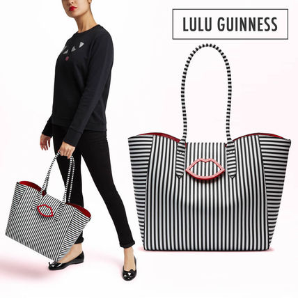 Stripes Casual Style A4 Plain Totes
