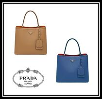 PRADA DOUBLE Casual Style Saffiano 2WAY Plain Handbags