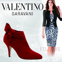 VALENTINO Suede Plain Pin Heels Elegant Style Ankle & Booties Boots