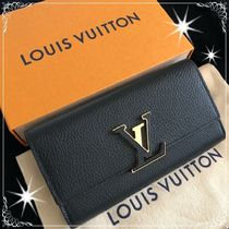 Louis Vuitton Unisex Plain Leather Long Wallets