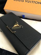 Louis Vuitton CAPUCINES Unisex Plain Leather Logo Long Wallets