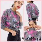 Crew Neck Flower Patterns Casual Style Long Sleeves Sweaters
