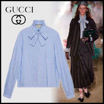 GUCCI Stripes Long Sleeves Cotton Medium Elegant Style