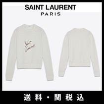 Saint Laurent U-Neck Long Sleeves Cotton Hoodies & Sweatshirts