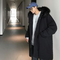 Street Style Plain Long Oversized Dark Brown Parkas