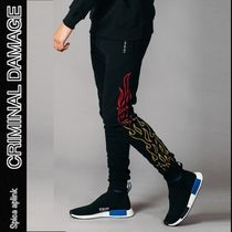 CRIMINAL DAMAGE Leopard Patterns Street Style Cotton Joggers & Sweatpants