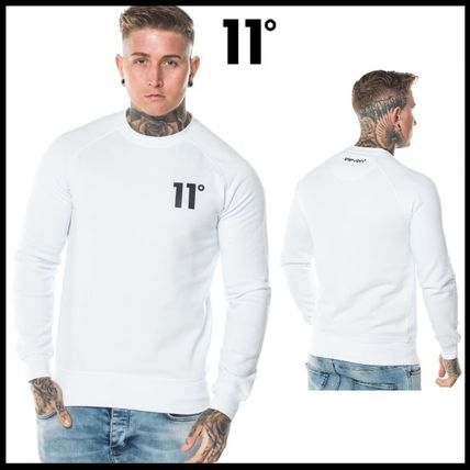 Crew Neck Pullovers Unisex Street Style Long Sleeves Plain