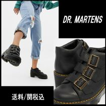 Dr Martens Round Toe Casual Style Plain Leather Block Heels