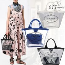 PRADA Casual Style 2WAY Crystal Clear Bags PVC Clothing Totes