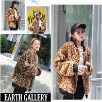 Leopard Patterns Medium MA-1 Cashmere & Fur Coats