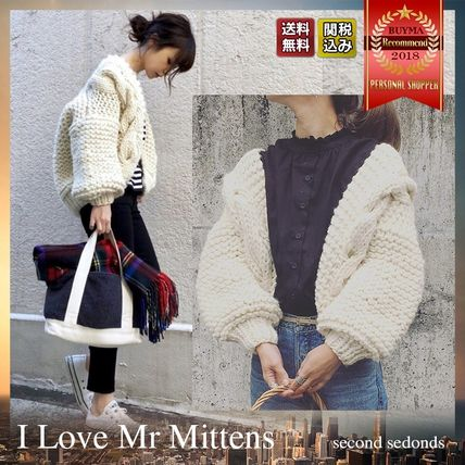 Cable Knit Short Casual Style Wool Plain Puff Sleeves