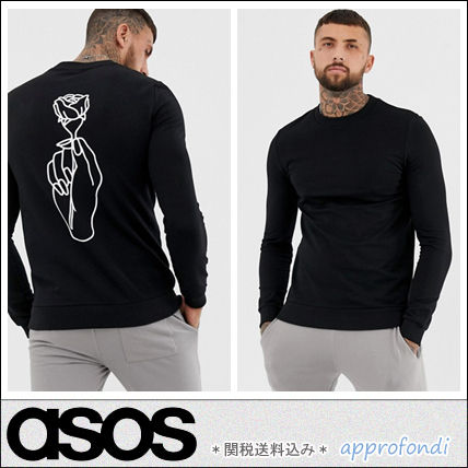 ASOS Sweatshirts Crew Neck Pullovers Flower Patterns Street Style