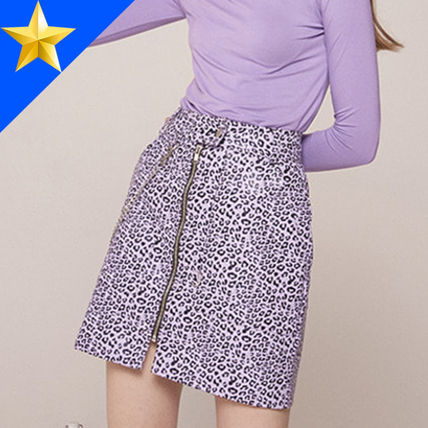 Short Leopard Patterns Faux Fur Street Style Chain Skirts