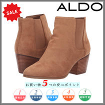 ALDO Plain Toe Plain Leather Block Heels Chelsea Boots
