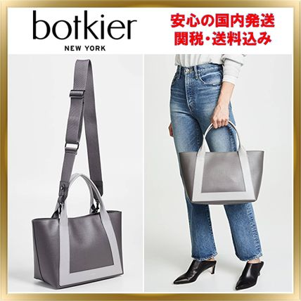 A4 Bi-color Plain Leather Office Style Totes