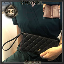 CHANEL ICON Unisex Lambskin Plain Long Wallets
