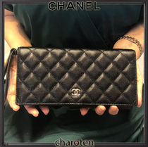 CHANEL ICON Unisex Lambskin Plain Folding Wallet Long Wallets