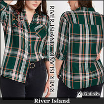 River Island Other Check Patterns Casual Style Long Sleeves Cotton Medium